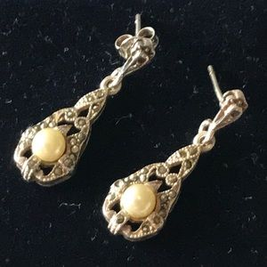 9.25 silver real Perl's earrings